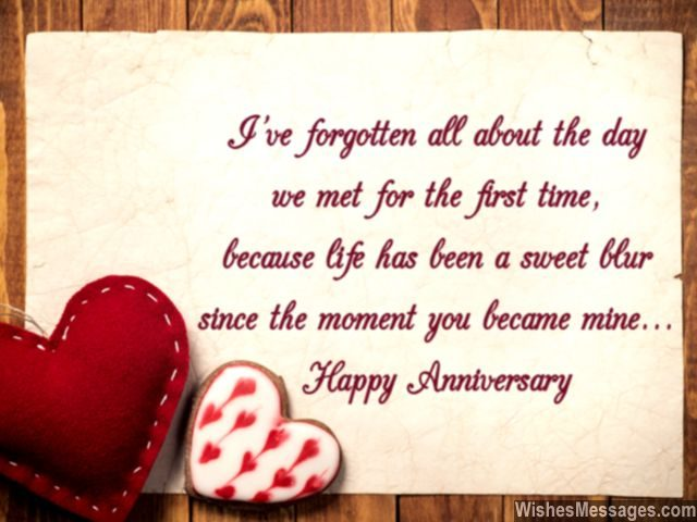 Happy anniversary greeting card wishes message for her