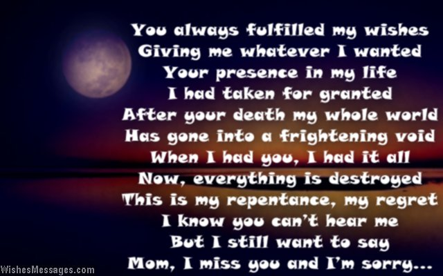 I Miss You Poems for Mom after Death: Missing You Poems to