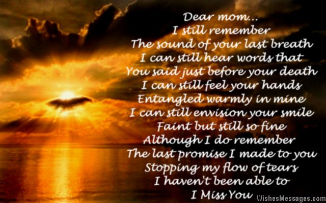 Sad death poem to mom from daughter or son