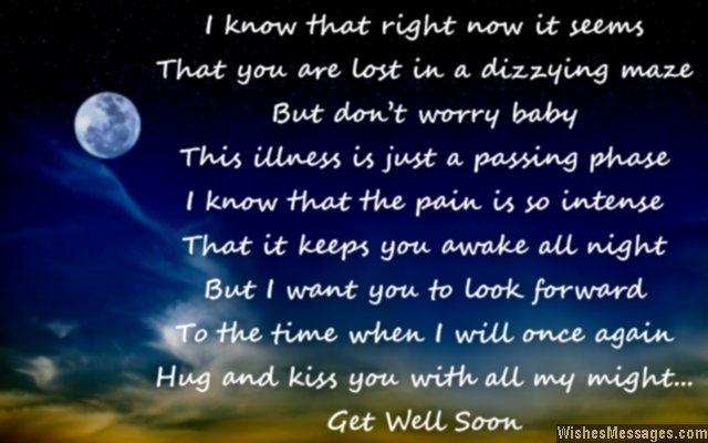 Sweet get well soon poem to him from her