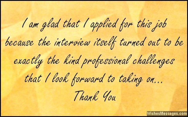 Professional thank you note after a job interview