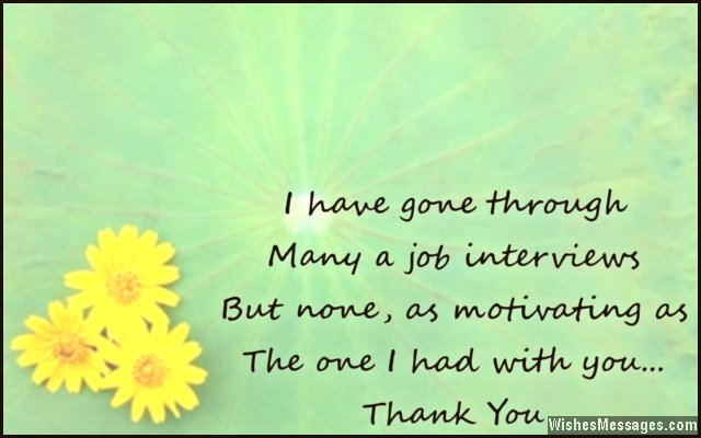 Thank you card message for job interview