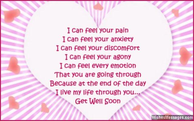 Sweet get well soon card poem to girlfriend from boyfriend