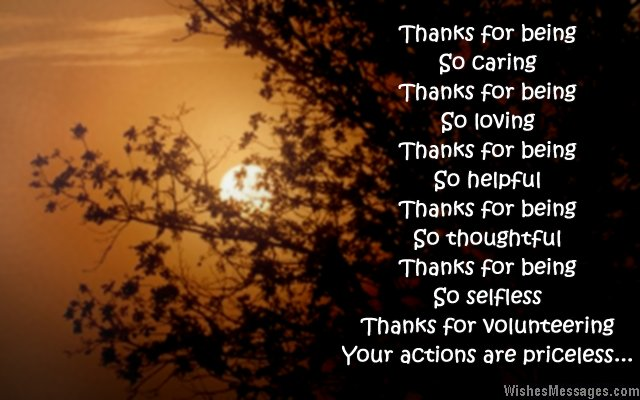Thank you greeting card message for volunteers