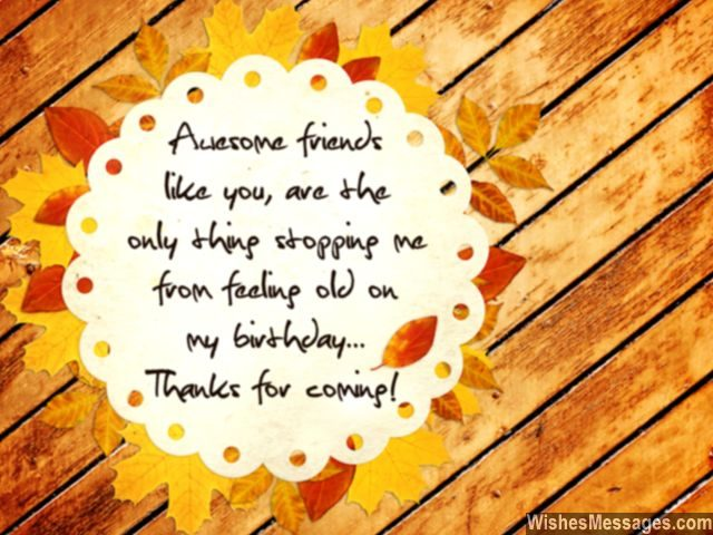 Friends thank you for coming birthday party sweet return card