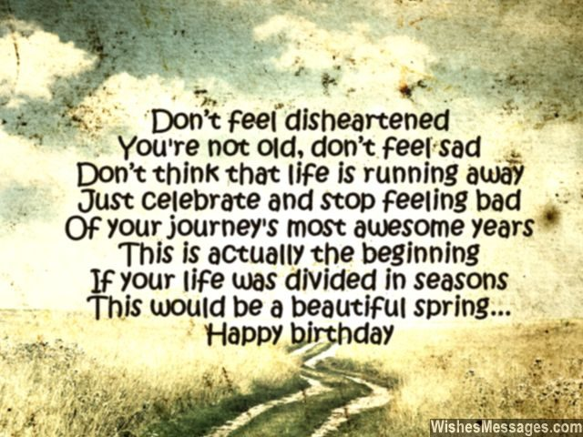Inspirational birthday poem message turning older in life