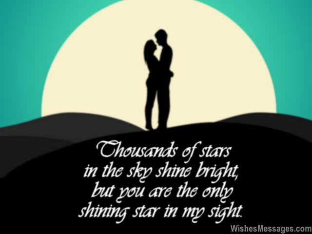 Stars shine bright romantic good night message for her