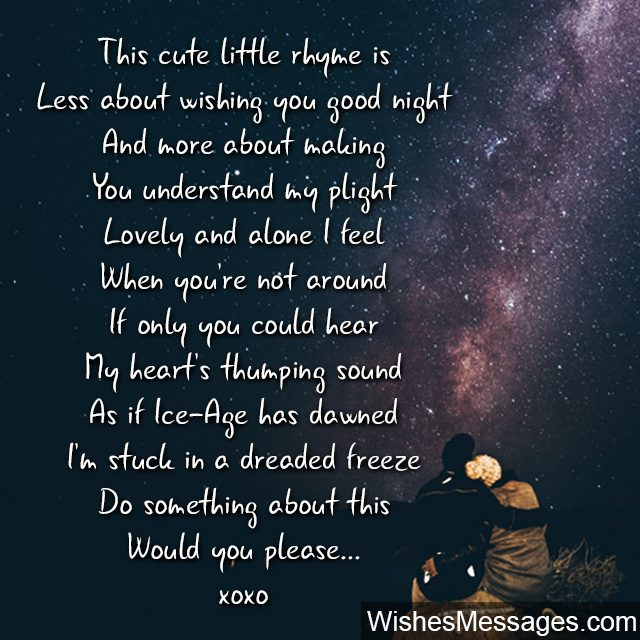 Sweet good night poem for him wish you do something