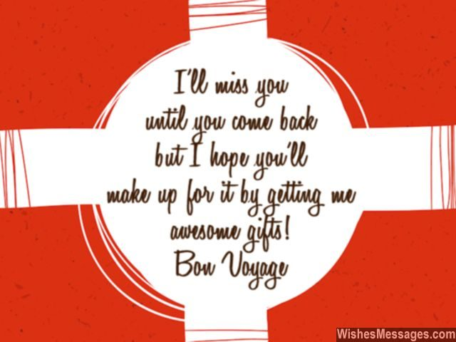 Bon voyage message cute greeting card quote for him her