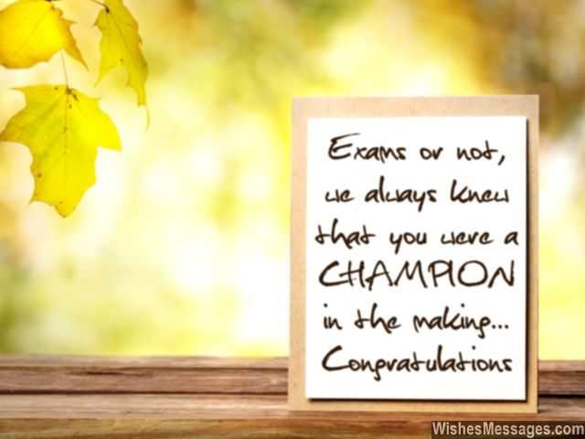 Congratulations for passing exams and tests best wishes for congratulations for good grades you are a champion greeting card m4hsunfo