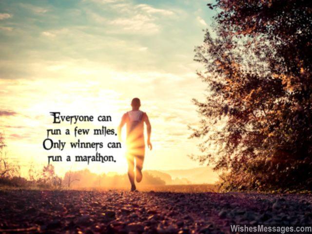 Winners run marathons inspirational quote for runners
