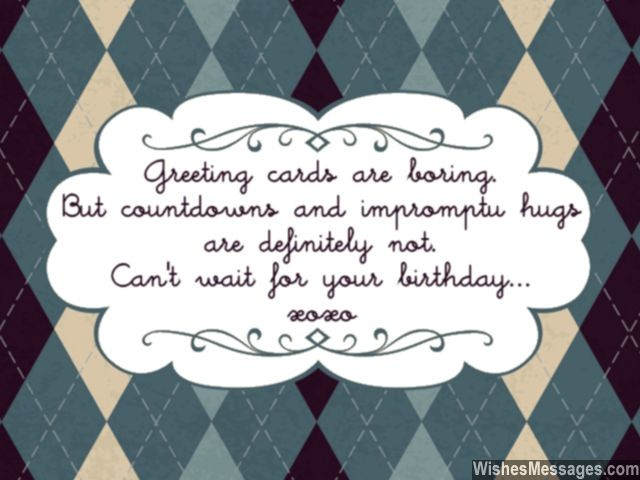 Birthday countdown greeting card and hugs xoxo