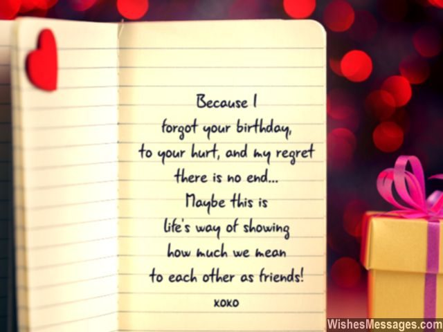 Belated birthday wishes for friends quotes and messages belated birthday message for friends cute note with heart m4hsunfo