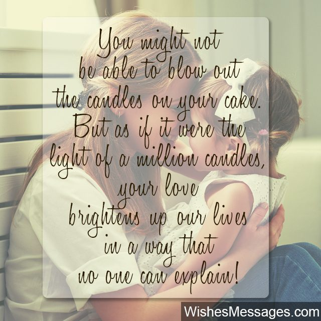 Cute quote for little daughter from mother you light up my life