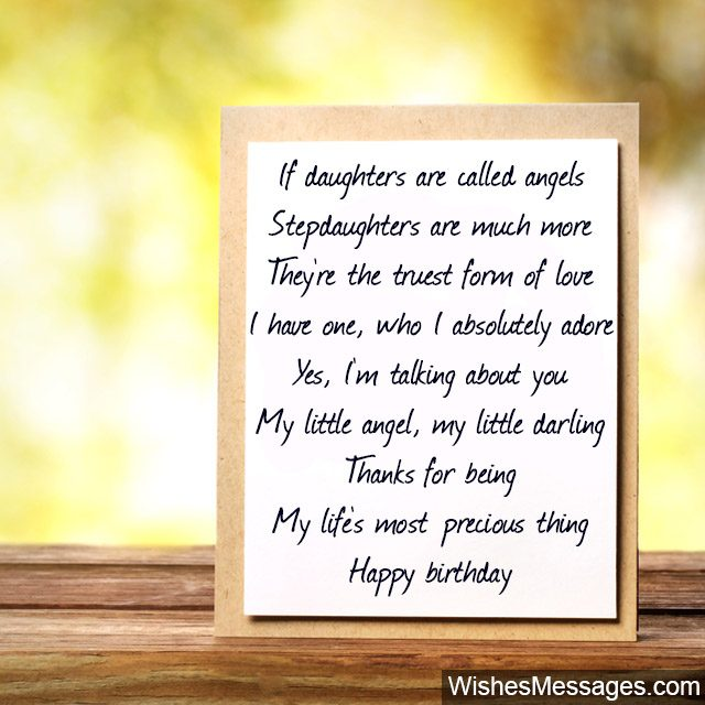 Birthday Poems For Stepdaughter Wishesmessages
